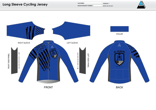 All In Racing Blue Long Sleeve Thermal Cycling Jersey