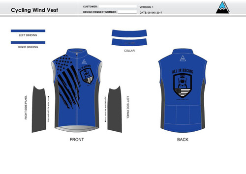 All In Racing Blue Cycling Wind Vest