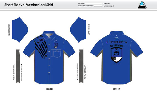 All In Racing Blue Adult Mechanic Shirt - UNISEX Sizing