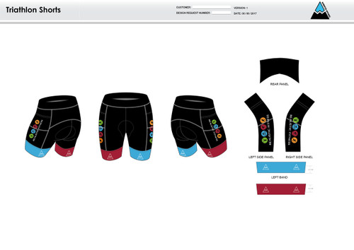 Realistic Fitness Women's Tri Shorts (Maroon and Blue)