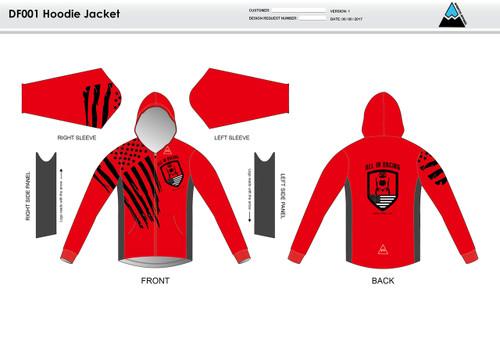 All In Racing Red Casual Hoodie Jacket