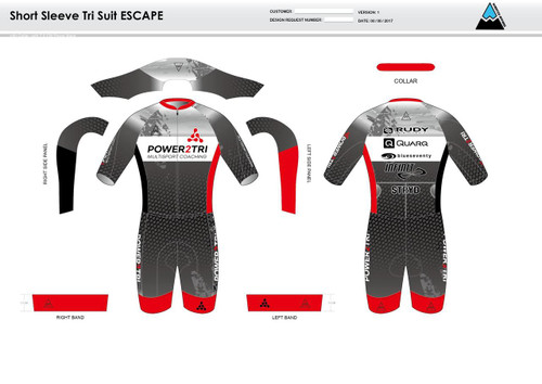 Power2Tri Red ESCAPE Short Sleeve Tri Suit