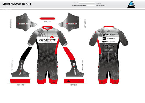 Power2Tri Red Short Sleeve Tri Suit