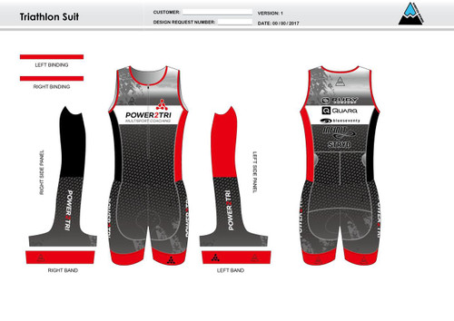 Power2Tri Red Sleeveless Tri Suit