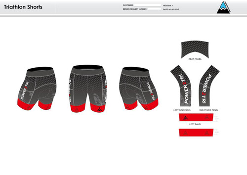 Power2Tri Red Men's Tri Shorts