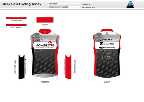 Power2Tri Red Sleeveless Cycling Jersey