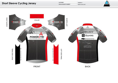 Power2Tri Red Short Sleeve Cycling Jersey