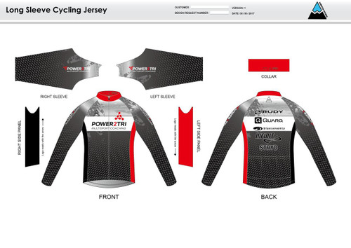 Power2Tri Red Long Sleeve Thermal Cycling Jersey
