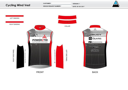 Power2Tri Red Cycling Wind Vest