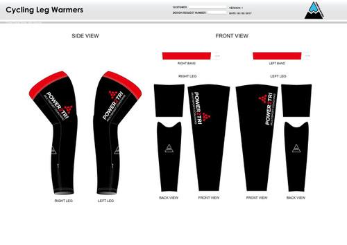Power2Tri Red Cycling Leg Sleeves