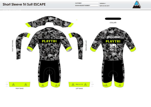 Playtri ESCAPE Short Sleeve Tri Suit