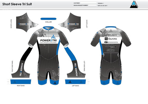 Power2Tri Blue Short Sleeve Tri Suit