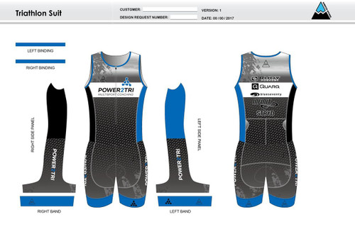 Power2Tri Blue Sleeveless Tri Suit