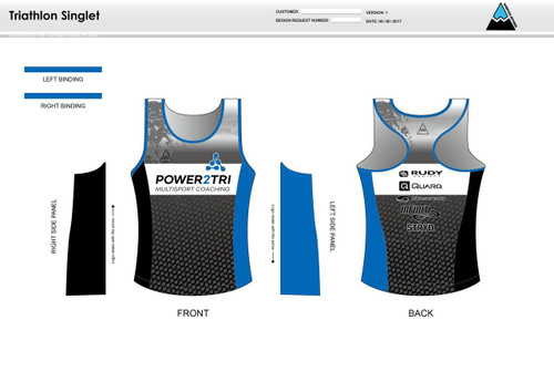 Power2Tri Blue Women's Tri Singlet