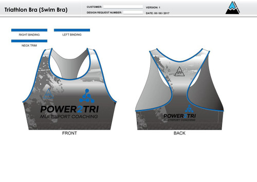 Power2Tri Blue Triathlon Bra