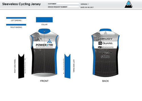 Power2Tri Blue Sleeveless Cycling Jersey