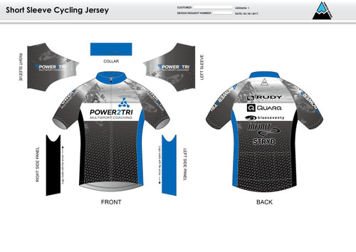 Power2Tri Blue Short Sleeve Cycling Jersey
