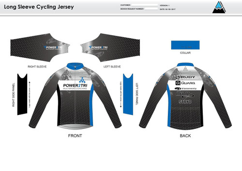 Power2Tri Blue Long Sleeve Cycling Jersey