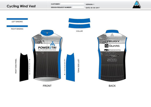 Power2Tri Blue Cycling Wind Vest