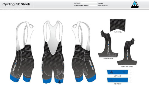 Power2Tri Blue Cycling Bibs