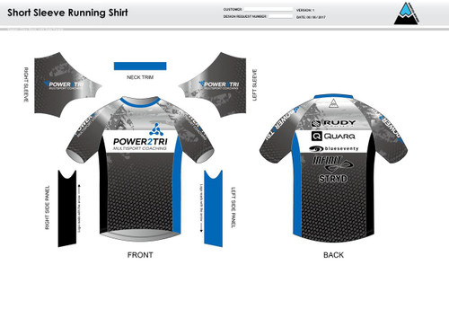 Power2Tri Blue Short Sleeve Running Shirt