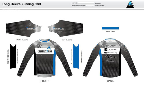 Power2Tri Blue Long Sleeve Running Shirt