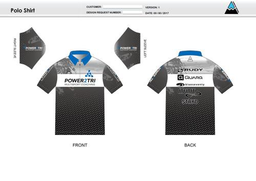 Power2Tri Blue Polo Shirt