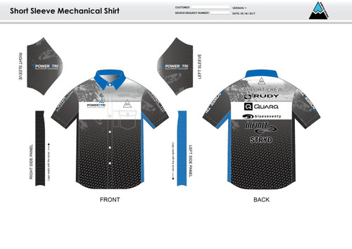 Power2Tri Blue Mechanic Shirt - UNISEX Sizing
