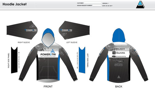 Power2Tri Blue Hoodie Jacket