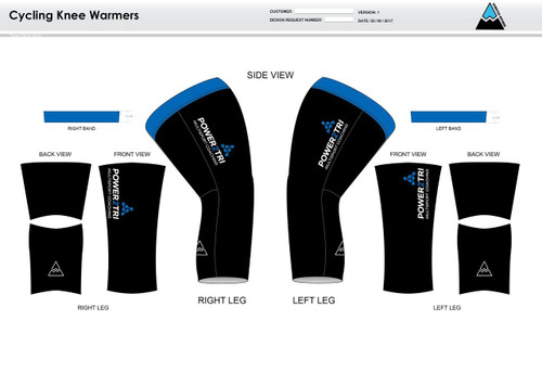 Power2Tri Blue Cycling Knee Sleeves