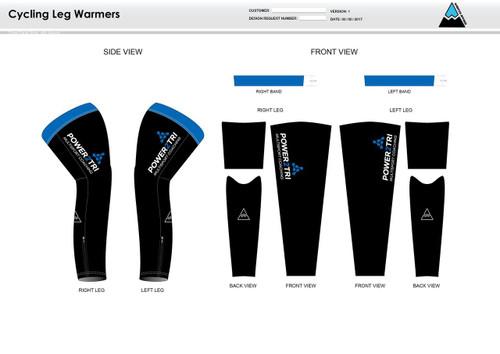 Power2Tri Blue Cycling Leg Sleeves