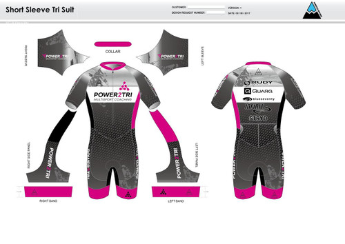 Power2Tri Pink Short Sleeve Tri Suit