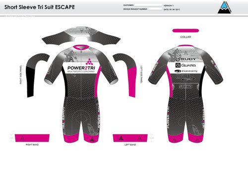 Power2Tri Pink ESCAPE Short Sleeve Tri Suit