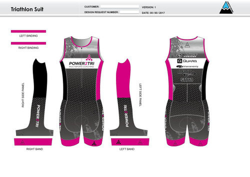 Power2Tri Pink Sleeveless Tri Suit
