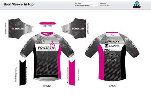 Power2Tri Pink Short Sleeve Aero Tri Top