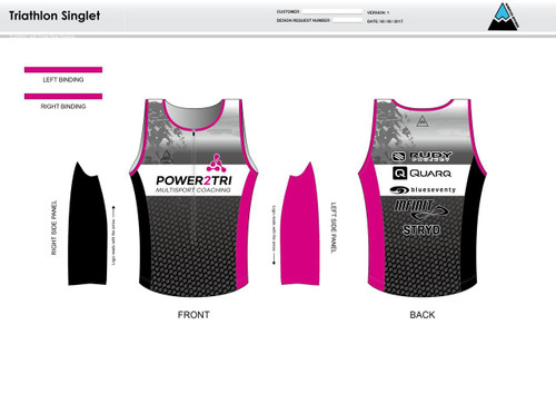 Power2Tri Pink Men's Tri Singlet