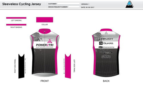 Power2Tri Pink Sleeveless Cycling Jersey