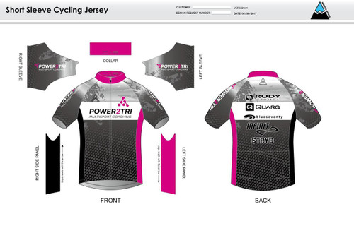 Power2Tri Pink Short Sleeve Cycling Jersey