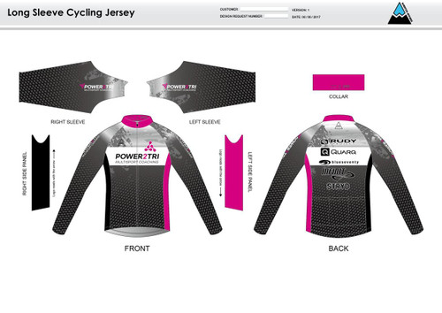 Power2Tri Pink Long Sleeve Thermal Cycling Jersey