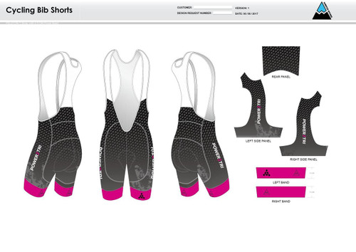 Power2Tri Pink Cycling Bibs