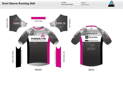 Power2Tri Pink Short Sleeve Running Shirt