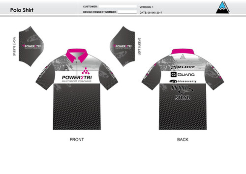 Power2Tri Pink Youth Polo Shirt