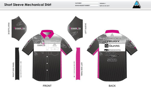 Power2Tri Pink Mechanic Shirt - UNISEX Sizing