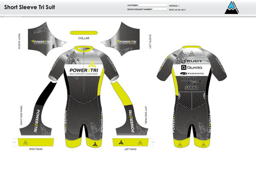 Power2Tri Yellow Short Sleeve Tri Suit