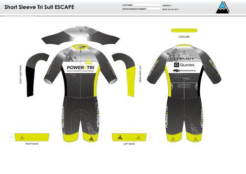 Power2Tri Yellow ESCAPE Short Sleeve Tri Suit