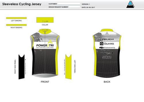 Power2Tri Yellow Sleeveless Cycling Jersey