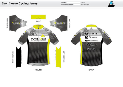 Power2Tri Yellow Short Sleeve Cycling Jersey