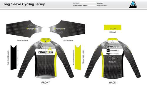 Power2Tri Yellow Long Sleeve Cycling Jersey