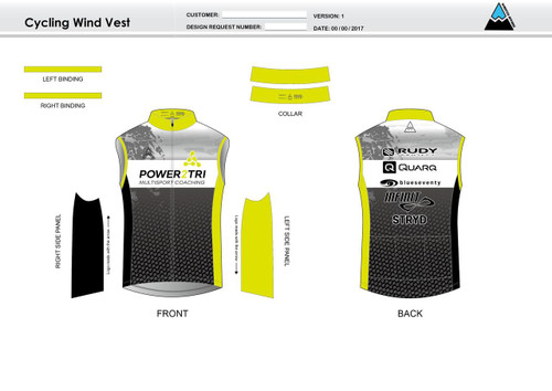 Power2Tri Yellow Cycling Wind Vest