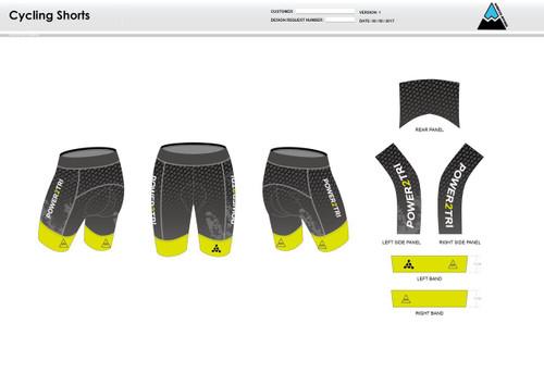Power2Tri Yellow Cycling Shorts